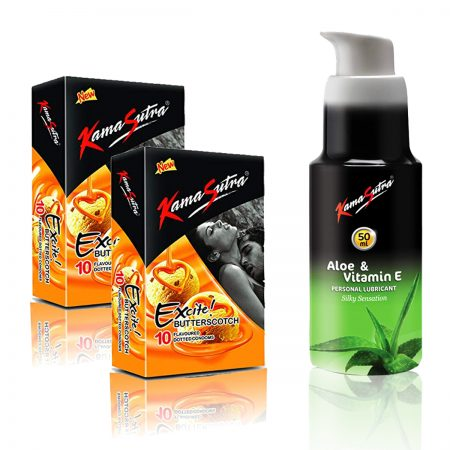 Kamasutra Aloe and Vitamin E Lubricant & Excite Series Butterscotch Dotted Condom's
