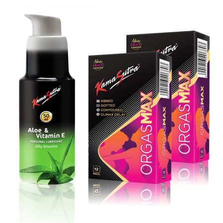 Kamasutra Aloe and Vitamin E Lubricant & Orgasmax 4 in 1 Dotted Condom's