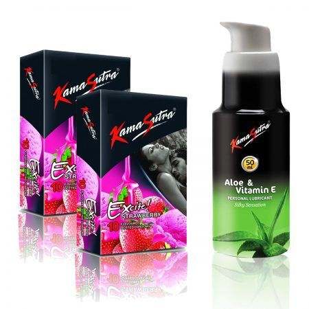 Kamasutra Aloe and Vitamin E Lubricant & Excite Series Strawberry Dotted Condom's