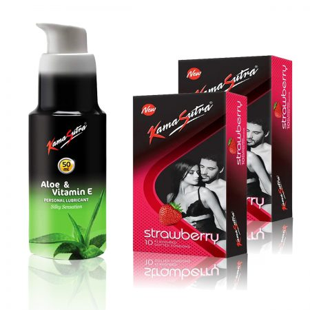 Kamasutra Aloe and Vitamin E Lubricant & Strawberry Dotted Condom's
