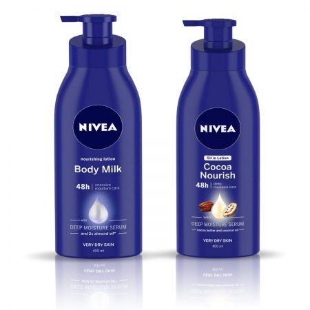 Nivea Nourishing Body Milk & Cocoa Nourish Body Lotion 800ml
