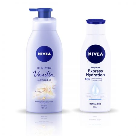 Nivea Vanilla and Almond Oil & Express Hydration Body Lotion 600ml