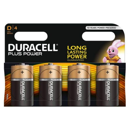 DURACELL Plus Power D Size 1.5 V Battery Pack of 4