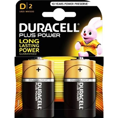 DURACELL Plus Power D Size 1.5 V Battery Pack of 2