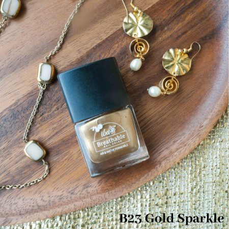 Iba Halal Care Breathable Nail Color, B23 GOLD SPARKLE – 9ml