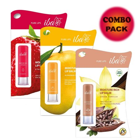 Iba Halal Care Moisture Rich Lip Balm Combo Pack of 3