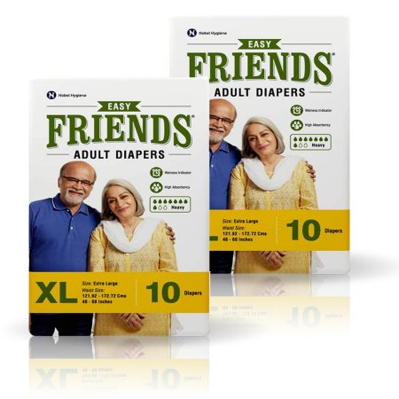 Friends Easy Adult Diapers Extra Large Size 10 Pcs (Pack of 2)