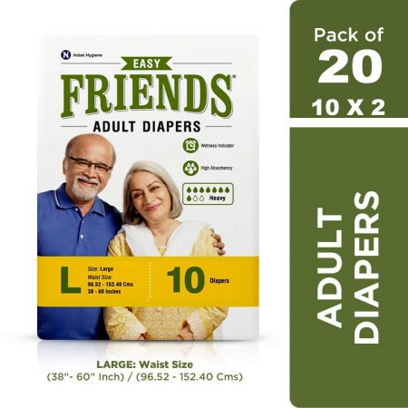 Friends Easy Adult Diapers Large Size 10 Pcs (Pack of 2)