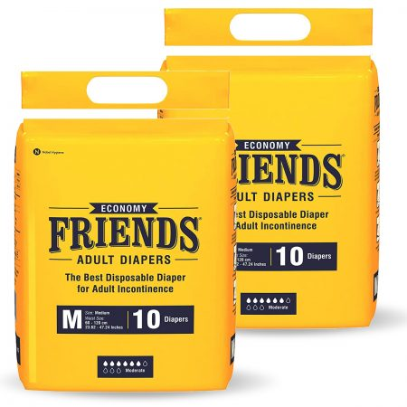 Friends Economy Adult Diapers Medium Size 10 Pcs (Pack of 2)