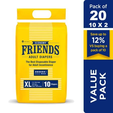 Friends Economy Adult Diapers Extra large Size 10 Pcs (Pack of 2)