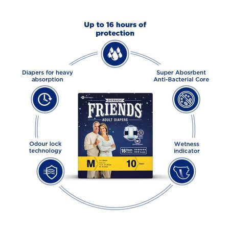 Friends Overnight Adult Diapers Pants Style – 20 Count (M-L) with odour lock and Anti-Bacteria