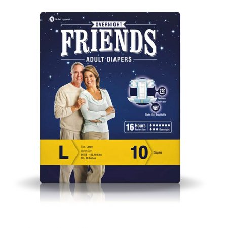 Friends Overnight Adult Diapers Large Size 10 Pcs