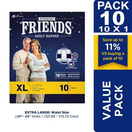 Friends Overnight Adult Diapers Extra Large Size 10 Pcs