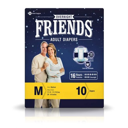 Friends Overnight Adult Diapers Medium Size 10 Pcs