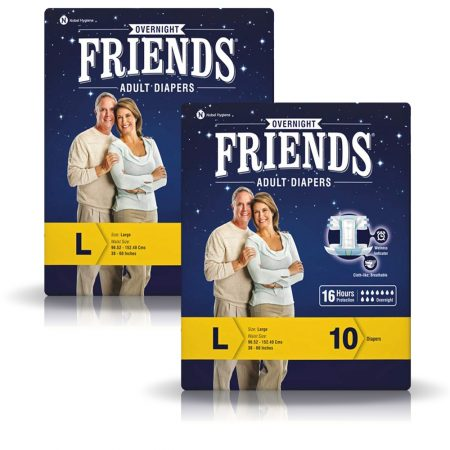 Friends Overnight Adult Diapers Large Size 10 Pcs (Pack of 2)