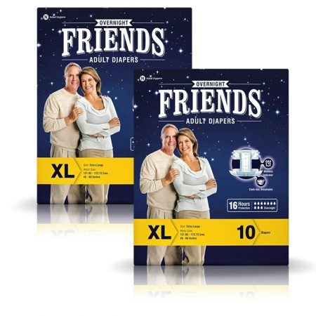 Friends Overnight Adult Diapers Extra Large Size 10 Pcs (Pack of 2)