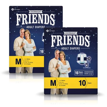 Friends Overnight Adult Diapers Medium Size 10 Pcs (Pack of 2)