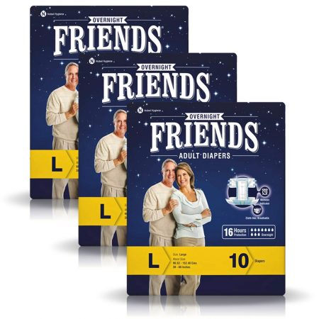 Friends Overnight Adult Diapers Large Size 10 Pcs (Pack of 3)