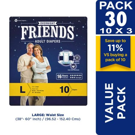 Friends Overnight Adult Diapers 30 Pcs