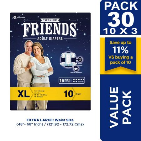 Friends Overnight Adult Diapers Extra Large Size 10 Pcs (Pack of 3)