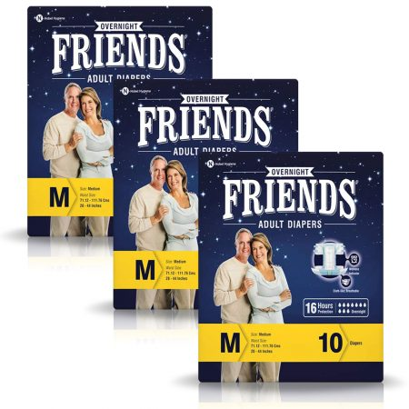 Friends Overnight Adult Diapers Medium Size 10 Pcs (Pack of 3)