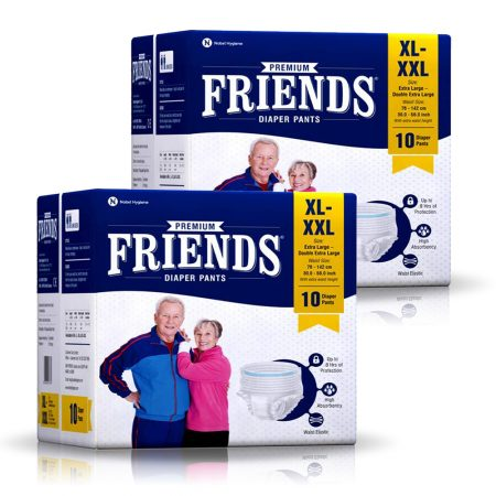 Friends Premium Adult Diaper Pants, Size XL-XXL 10 Pcs (Pack of 2)