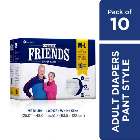 Friends Premium Adult Diaper Pants Medium Large 10 Pcs
