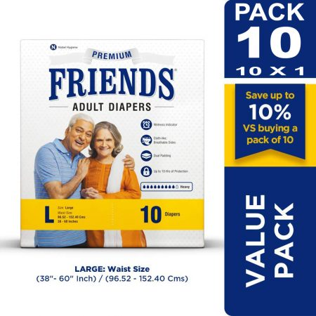 Friends Premium Adult Diapers Large Size 10 Pcs