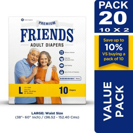 Friends Premium Adult Diapers Large Size 10 Pcs (Pack of 2)