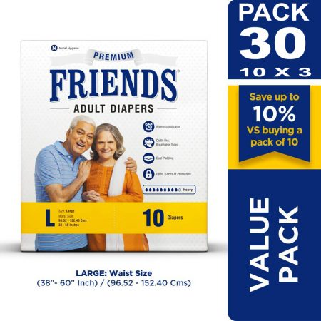 Friends Premium Adult Diapers Large Size 10 Pcs (Pack of 3)