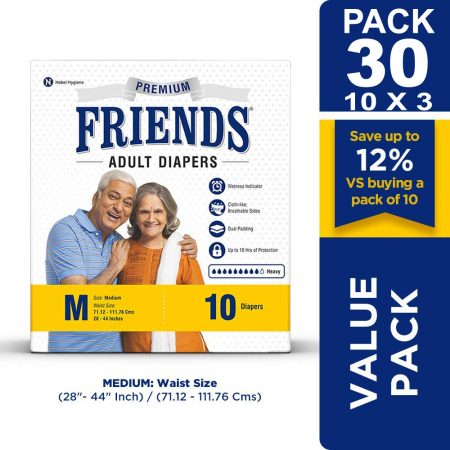 Friends Premium Adult Diapers Medium Size 10 Pcs (Pack of 3)