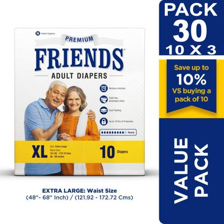 Friends Premium Adult Diapers Extra Large Size 10 Pcs (Pack of 3)