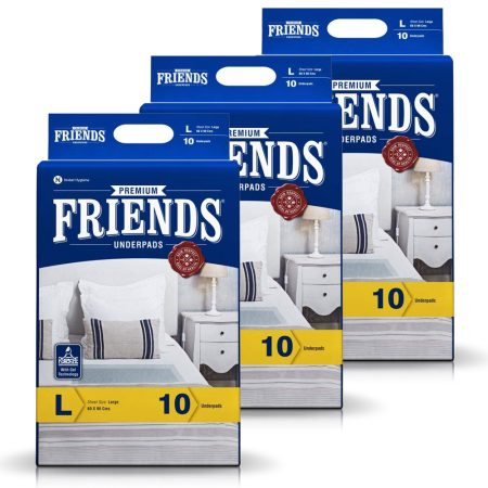 Friends Premium Underpads Large Size 10 Pcs (Pack of 3)