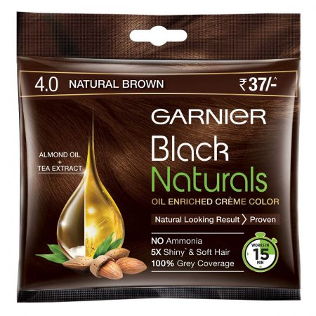 Garnier Black Naturals Shade 4.0 Natural Brown  (20ml + 20g)