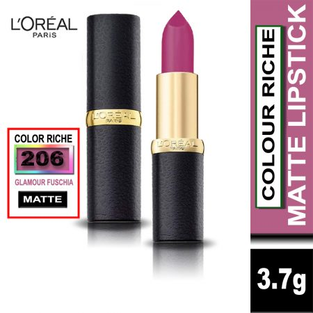 L'Oreal Paris Color Riche Moist Matte Lipstick (206 Glamour Fuschia)