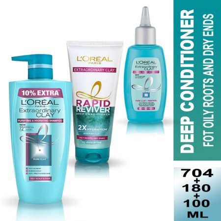 L'Oreal Paris Extraordinary Clay 704 ml + 180 ml + 100 ml (Combo Pack )