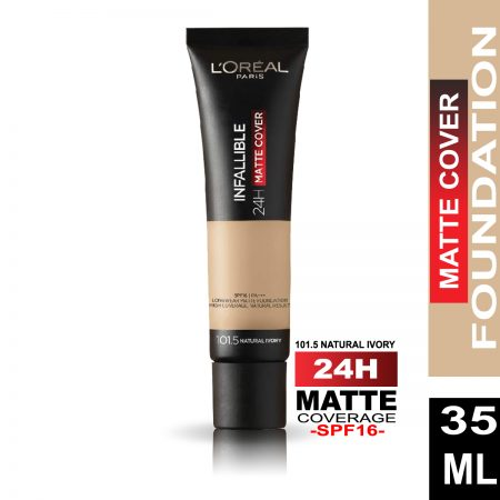 L'Oreal Paris Infallible 24 Hr Matte Cover Foundation (101.5 Natural Ivory)