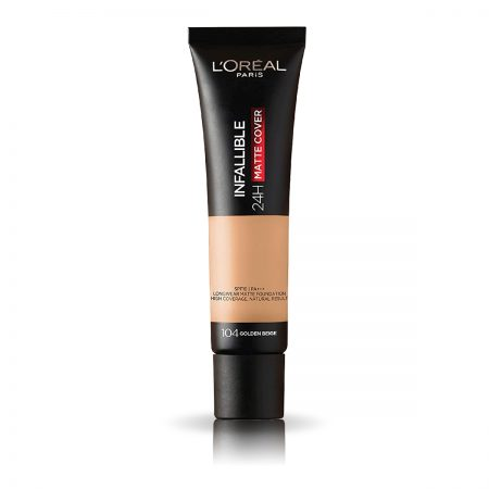 L'Oreal Paris Infallible 24 Hr Matte Cover Foundation (104 Golden Beige)