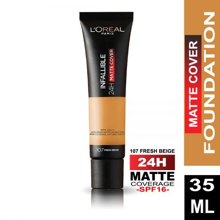 L'Oreal Paris Infallible 24h Matte Cover Foundation (107 Fresh Beige)