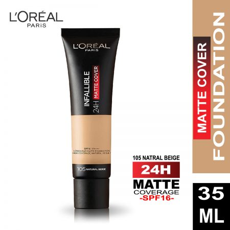L'Oreal Paris Infallible 24h Matte Cover Foundation (105 Natural Beige)