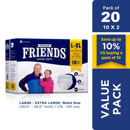 Friends Premium Adult Diaper Pants Extra Large 10 Pcs (Pack of 2)