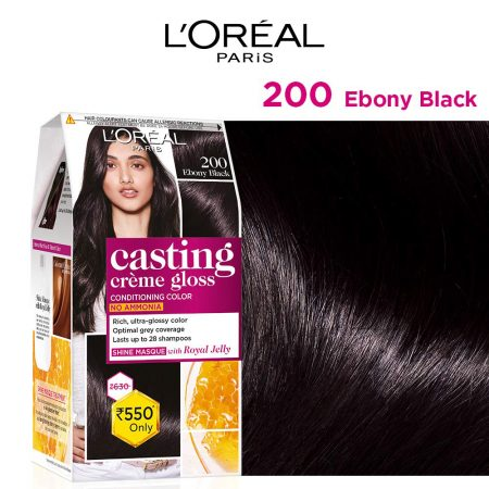 L'Oreal Paris Casting Cream Gloss Hair Colour 200 Ebony Black 87.5g+72ml