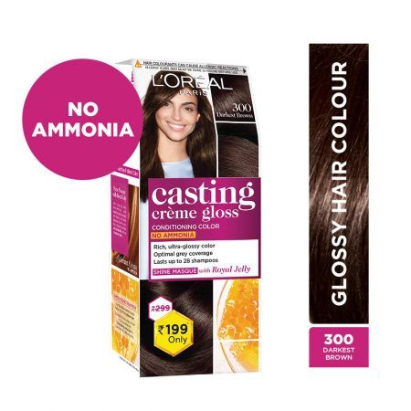 L'Oreal Paris Casting Cream Gloss Hair Colour 300 Darkest Brown 21g+24ml