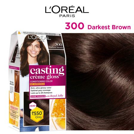L'Oreal Paris Casting Cream Gloss Hair Colour 300 Darkest Brown 87.5g+72ml