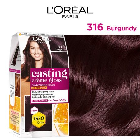 L'Oreal Paris Casting Cream Gloss Hair Colour 316 Burgundy, 87.5g+72ml
