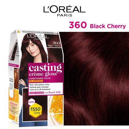 L'Oreal Paris Casting Cream Gloss Hair Colour 360 Black Cherry, 87.5g+72ml