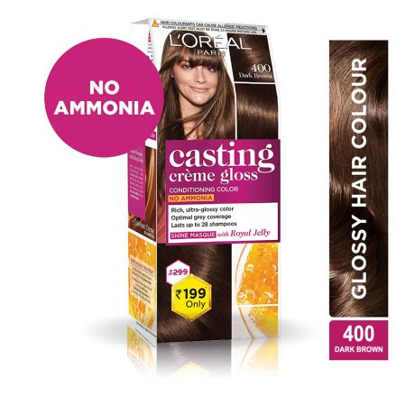 L'Oreal Paris Casting Cream Gloss Hair Colour 400 Dark Brown 45g
