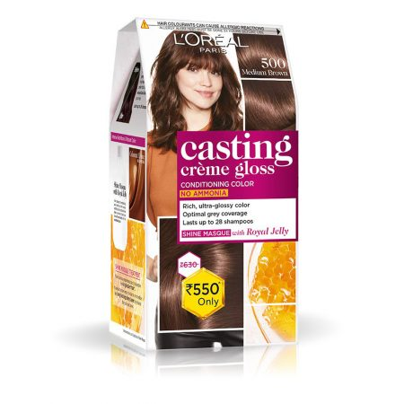 L'Oreal Paris Casting Cream Gloss Hair Colour 500 Medium Brown 87g