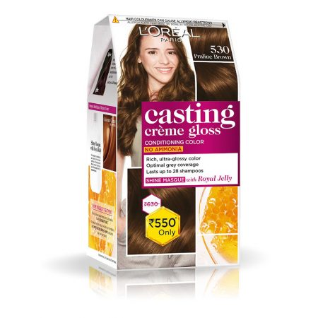 L'Oreal Paris Casting Cream Gloss Hair Colour, 530 Praline Brown