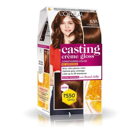 L'Oreal Paris Casting Cream Gloss Hair Colour 535 Chocolate, 87.5g+72ml